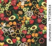 vegetables food seamless vector ... | Shutterstock .eps vector #797280616
