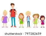 schoolboys with backpacks....   Shutterstock .eps vector #797282659