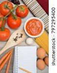 vegetable background spaghetti  ... | Shutterstock . vector #797295400