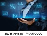 seo search engine optimization... | Shutterstock . vector #797300020