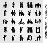humans icon set vector. couple  ... | Shutterstock .eps vector #797302093