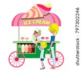woman   seller gives the ice... | Shutterstock .eps vector #797302246