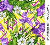 seamless pattern with iris and... | Shutterstock . vector #797302948