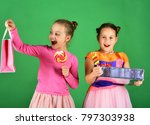 sisters with lollipops  boxes... | Shutterstock . vector #797303938