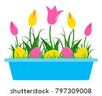 vector tulips and easter eggs... | Shutterstock .eps vector #797309008