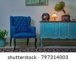 interior shot of blue armchair  ...