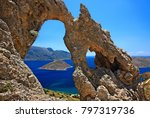 """KALYMNOS ISLAND, GREECE. The """"Palace"""" (""""Palatia"""") one of the most impressive rocky formations and a famous climbing field at Kalymnos island, Dodecanese."""