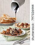 traditional homemade pancakes.... | Shutterstock . vector #797326444