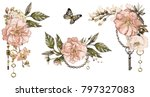 vintage watercolor illustration ... | Shutterstock . vector #797327083