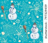 seamless pattern with snowman... | Shutterstock .eps vector #797329459