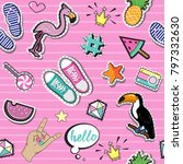 fashion patch badges with... | Shutterstock .eps vector #797332630