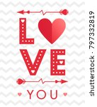 vector valentines day card with ... | Shutterstock .eps vector #797332819