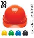 working hard hat set. safety... | Shutterstock .eps vector #797332930