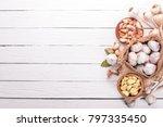 garlic. a set of fresh garlic... | Shutterstock . vector #797335450