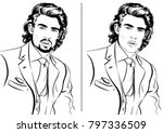 gorgeous men with beard and... | Shutterstock .eps vector #797336509