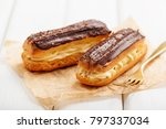 traditional french eclairs with ... | Shutterstock . vector #797337034