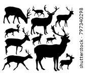 silhouettes of deers. | Shutterstock .eps vector #797340298