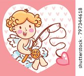 cute cupid angel character on... | Shutterstock .eps vector #797344618