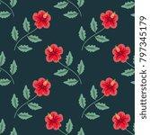 seamless decorative hibiscus...   Shutterstock .eps vector #797345179