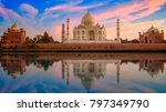 taj mahal agra on the banks of... | Shutterstock . vector #797349790