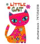 little cat illustration....   Shutterstock .eps vector #797356558