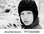 winter portrait of a adorable... | Shutterstock . vector #797360080