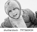 winter portrait of a adorable 7 ... | Shutterstock . vector #797360434
