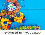 carnival decoration on blue... | Shutterstock . vector #797362600