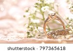 wedding ring on the vintage lace | Shutterstock . vector #797365618