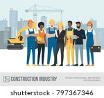 construction workers and... | Shutterstock .eps vector #797367346