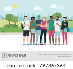 young sports people posing... | Shutterstock .eps vector #797367364