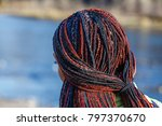 close up of woman afro braids... | Shutterstock . vector #797370670