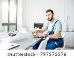 handsome repairman or foreman... | Shutterstock . vector #797373376
