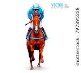 jockey on horse. champion.... | Shutterstock .eps vector #797395228