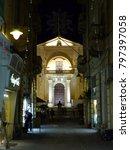 Small photo of Valletta, Malta / Malta - November 2017: Church at night