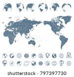 world map gray   asia in center ... | Shutterstock .eps vector #797397730