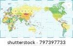 world map white blue   asia in... | Shutterstock .eps vector #797397733