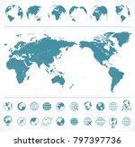 world map blue green and globes ... | Shutterstock .eps vector #797397736