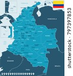 colombia map and flag   high... | Shutterstock .eps vector #797397853