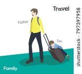 father and son. travel people.... | Shutterstock .eps vector #797397958