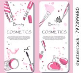 sketch of cosmetics products  ... | Shutterstock .eps vector #797399680