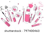 sketch of cosmetics products ... | Shutterstock .eps vector #797400463