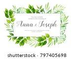wedding invitation with green... | Shutterstock .eps vector #797405698