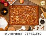 apple pie with baking... | Shutterstock . vector #797411560
