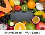 Exotic Tropical Fruits On Blac...