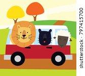 cute lion in a vehicle. cute... | Shutterstock .eps vector #797415700