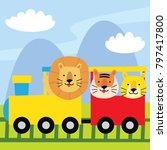 cute lion and tiger riding a... | Shutterstock .eps vector #797417800