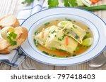 vegetable broth with swabian... | Shutterstock . vector #797418403