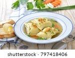 vegetable broth with swabian... | Shutterstock . vector #797418406