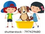 boy and girl giving dog a bath... | Shutterstock .eps vector #797429680